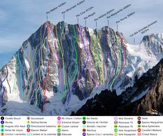 North Face of the Grandes Jorasses. The Walker Spur, climbed by Bonatti in is number Mountain Climbing, Rock Climbing, Chamonix, Escalade, Mountain Photography, Rhone, Road Trippin, Mountain Landscape, Mountaineering
