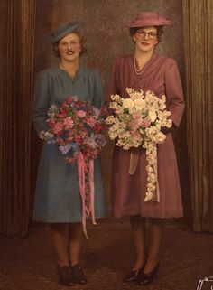 Auntie Ed is in the blue. My Auntie Rita's [next to her] wedding day. Bridesmaid Dresses, Wedding Dresses, Auntie, Wedding Day, Blue, Fashion, Pi Day Wedding, Moda