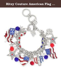 Ritzy Couture American Flag Charm Adjustable Toggle Bracelet (Silvertone). You're proud be an American, so why not proudly wear this bold bracelet? This silvertone accessory features a collection of patriotic and Americana-themed enamel charms and glass stones. In this two-strand bracelet, one strand boasts a line of red, white and blue glass stones while the second is a cable link chain that holds the charms. Adjust this piece to the perfect size with the toggle clasp. Silvertone....