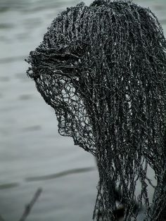 """Derek Kinzett Wire Sculpture """"Spirit Of The Lake"""" In Memory Of Samantha Penlicote. The Galvanised Wire is Airbrushed with a Zinc Rust Replant, and finished with an Acrylic Aluminium Spray to protect"""