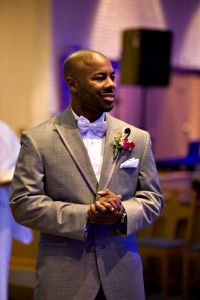 Grey Tux.... either purple or soft pink ;)