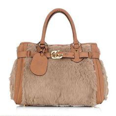 92aa55ef7d3 Gucci GG Running Khaki Rabbit Fur Top Handle Bag