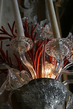 Venetian Glass Chandelier with Coral Accents...can there ever be enough Coral Accents...