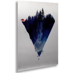 Trademark Fine Art 'Near To The Edge' Canvas Art by Robert Farkas, Floating, Brushed Aluminum, 16' x 22', Blue