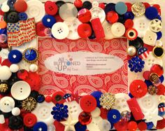 USA Themed Button Picture Frame for 4x6 by allbuttonedupbytina, $45.00