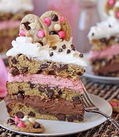 Neapolitan Chocolate Chip Cookie Cake - Love the colors and layers of this recipe. It may be some work to make, but well worth it!