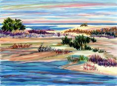 """Monomoy National Wildlife Refuge, Chatham, Cape Cod, Massachusetts, original watercolor and acrylic painting, signed, 9x12"""", beach, ocean by Parsonspaintings on Etsy"""