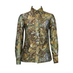 1970s Lanvin Camouflage Bird Print Button Down   From a collection of rare vintage blouses at http://www.1stdibs.com/fashion/clothing/blouses/
