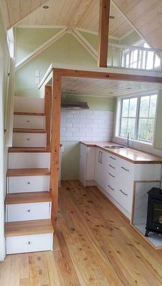 52 Newest Small Loft Stair Ideas For Tiny House There are lot. 52 Newest Small Loft Stair Ideas For Tiny House There are lots of methods by whi Tiny Loft, Tiny House Loft, Tiny House Storage, Best Tiny House, Small Loft, Tiny House Living, Tiny House Plans, Tiny House Design, Tiny House On Wheels
