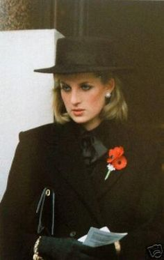 November 11, 1984: Princess Diana at the Remembrance Ceremony at the Cenotaph, London.