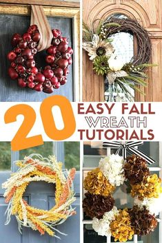 Learn how to make 20 easy fall wreaths. Hang them on your front door or inside for autumn home decor. Simple DIY craft tutorial ideas. #thecraftyblogstalker #homedecor #fallwreaths #styledhome Easy Fall Wreaths, Christmas Wreaths, Diy Thanksgiving, Easy Diy Crafts, Fall Diy, Autumn Home, Simple Diy, Craft Tutorials, Fun Projects