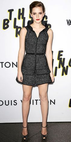 Watson hit the L.A. premiere of The Bling Ring in a sculpted Chanel minidress that she styled with edgy Graziela ear cuffs and ankle-strap peep-toes