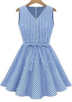 Vestido plisado cuello pico rayas verticales-azul 18.91