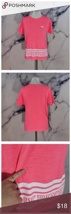 Victoria's Secret PINK Lightweight Top Neon pink lightweight top with baseball style stripes. Super cute and comfy! Small stains as shown in 3rd picture.Excellent condition. No holes, or rips. Size S. Comment below for additional info or measurements. Ships same day M-SAT. Please, no price discussion in comments. Use the offer button! PINK Victoria's Secret Tops Tees - Short Sleeve