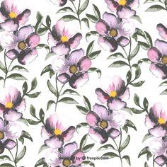 Pintado a mano patrón de flores Vector Gratis