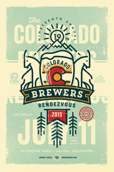 Colorado Brewers Rendezvous 19 Poster – Sunday Lounge Colorado Brewers Rendezvous 19 Poster – Sonntagslounge BEER DESIGN by Sunday Lounge Typography Design, Logo Design, Flat Design, Vector Design, Brewery Design, Beer Poster, Gig Poster, Beer Art, Poster Design Inspiration