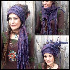 The 'Wurple' Amethyst Hippie Felted Dread Wrap, Gypsy Headscarf, Felt Turban…
