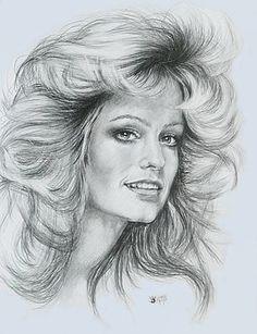 Farrah Fawcett by Barbara Keith Portrait Au Crayon, Pencil Portrait, Portrait Art, Celebrity Drawings, Celebrity Portraits, Man Cave Art, Figure Sketching, Farrah Fawcett, Art Drawings