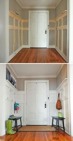 Great sprucing up the back entrance/mudroom. how to and lots of ideas/designs