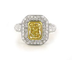 An White and Yellow Gold, Fancy Yellow Radiant Cut Diamond Halo Ring Yellow Diamond Rings, Yellow Diamonds, Halo Diamond, Radiant Cut Diamond, Diamond Dress, Dress Rings, Halo Rings, Vintage Rings, Jewelry Collection