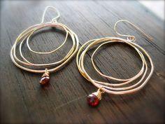 ガーネットフープピアス14kgf #handmadejewelryearrings