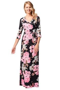 667e7dfc7b Black Chiffon Rose Printed Floral Women Dresses With Half Sleeve And V  Neck. Virágos RuhákMaxi RuhákFélkaros TetoválásokTesthezálló Ruha