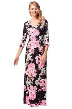 Black Chiffon Rose Printed Floral Women Dresses With Half Sleeve And V  Neck. Virágos RuhákMaxi RuhákNyári ... 6527ae40f3