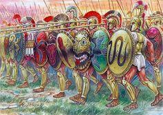 La falange oplitica, elemento tipico della strategia militare greca, chiave di molti successi