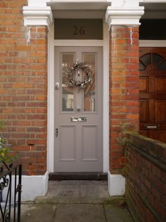The London Door Company Wimbledon, London – LDC Mushroom Christmas Wreath – Top Trend – Decor – Life Style Gray Front Door Colors, Garage Door Colors, Grey Front Doors, Door Paint Colors, Country Front Door, Front Door Porch, House Front, Victorian Front Doors, Victorian Terrace