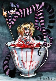 second art with Alice and Cheshire Cat. format: medium : marker, watercolors, ink first picture with Alice and Cat : Alice in Nightmareland UPDATE Mad Tea Party Lewis Carroll, Alice Liddell, Arte Horror, Horror Art, Creepy, Chesire Cat, Fairytale Party, Alice Madness Returns, Twisted Disney