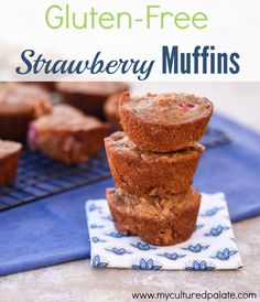 Are you looking for a easy to make, gluten free, grain free muffin recipe that tastes delicious? Look no farther - Gluten Free Strawberry Muffins take 10 minutes to put together, and taste heavenly! Find the recipe at http://myculturedpalate.com/2014/11/20/gluten-free-strawberry-muffins/