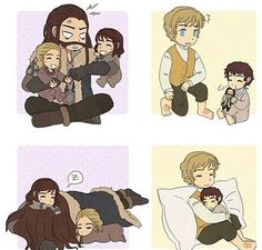 Awwww...... Thorin with young Kili and Fili & Bilbo with young Frodo