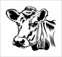 Adhesive vinyl stencil REF 143 image 1 Star Stencil, Stencil Art, Stencil Designs, Silhouette Projects, Silhouette Design, Cricut Vinyl, Vinyl Decals, Animal Stencil, Cow Head