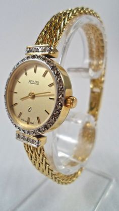 fa709be3 Damen Schweizer 14 Kt Gelbgold Armbanduhr Rivado, 40 Diamanten, 27,8 g  Quarzuhr