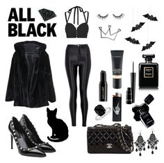 """""""all black halloween set"""" by boom-with-red-eyes ❤ liked on Polyvore featuring Jonathan Simkhai, Wet n Wild, MAC Cosmetics, Chanel, Blue Nile, tarte, Valentino and Diamond Supply Co."""