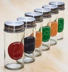 A set of 30 labels for common herbs and spices, each showcasing the structure of one of the major chemical constituents of that herb or spice (spice jars not included) - perfect for a science enthusiast's kitchen! I SO NEED THIS!:)
