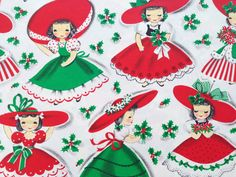 Vintage Christmas Gift Wrapping Paper - Christmas Maids - Little Girls in Red and Green Petticoats and Dresses