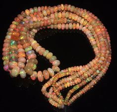 """1 Strand 3 to 8 mm 16"""" Beads Natural Genuine Ethiopian Welo Fire Opal** 415"""