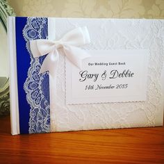 Royal blue  ribbon guestbook I've made for a couple who are getting married soon! Exciting times!!  #wedding #brides #weddinginspiration #weddingday guestbook #lace #ribbon #diy #vintage #classic #shabbychic #personalised #bespoke #unique #individual #crafty #craft