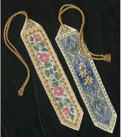 "Elegant Bookmarks - 9"" long, counted cross-stitch :: Love the delicacy and elegance of the design! They look as if they came from medieval times. =)"