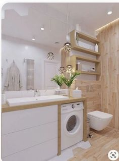 33 clean small laundry room decorating ideas you must have 5 Modern Small Bathrooms, Beautiful Bathrooms, Modern Bathroom, Bathroom Design Luxury, Bathroom Design Small, Small Laundry, Laundry In Bathroom, Laundry Room Design, Bathroom Inspiration
