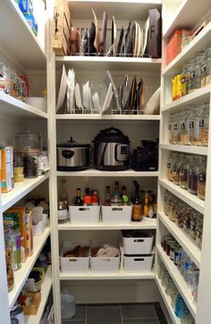 """My Big Pantry Redo! How We Got Organized Big Pantry Redo """"after"""" bins and racks on 100 Days of Real Food, Kitchen Pantry Design, Home Decor Kitchen, Kitchen Interior, Home Kitchens, Kitchen Ideas, Kitchen Pantries, Grey Kitchens, Pantry Shelving, Pantry Storage"""