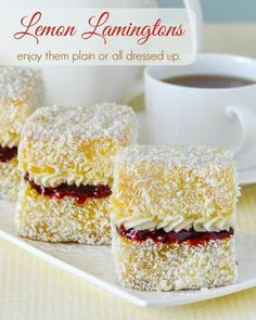 Lemon Lamingtons. Moist vanilla cake cubes dipped in lemon and coconut. Enjoy them plain or dress them but with raspberry compote and vanilla cream.