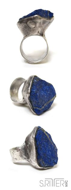 raw lapus lazuli cupped in sterling silver. like the age of ottoman empire. || raw organic natural stone rings || SRitterNYC.com