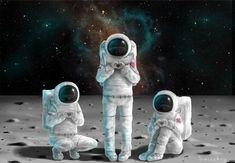 Astronaut Trio by Saccstry.deviantart.com on @DeviantArt