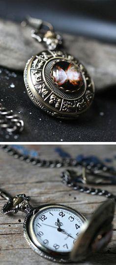Galaxy Zodiac - pocket watch necklace
