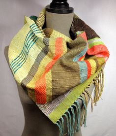 Fiona // Handwoven Olive Lava Red & Mocha Scarf // by pidgepidge