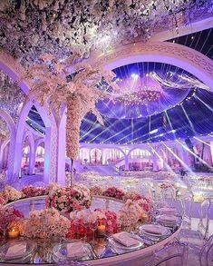 So glamorous and magical 💫 ______________ ▪Wedding designer: ▪Photographer: ▪Floral decoration: Extravagant Wedding Decor, Romantic Wedding Receptions, Luxury Wedding Decor, Glamorous Wedding, Wedding Venues, Dream Wedding, Wedding Day, Magical Wedding, Quinceanera Decorations