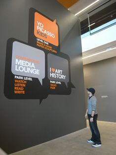 Speech bubble wall decals as internal signage