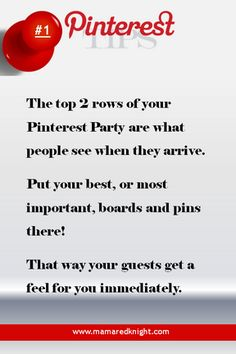 Pinterest Tip Put the most important information in the top 2 rows if you want to get the most traction for your best stuff!